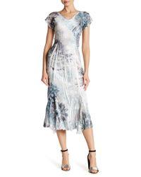 Komarov - Flutter Sleeve V-neck Dress - Lyst