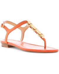 f61188e91fd Michael Michael Kors Mahari Leather Flat Thong Sandal in Brown - Lyst