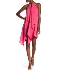 Kensie - Asymmetrical Draped Keyhole Dress - Lyst