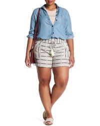 Jolt - Tie Front Stripe Linen Blend Short (plus Size) - Lyst