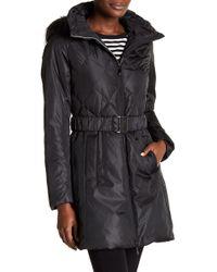 Cece by Cynthia Steffe - Hailey Faux Fur Trim Hooded Down Coat - Lyst