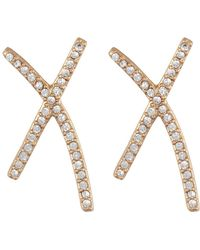 Madewell - X-shaped Pave Earrings - Lyst