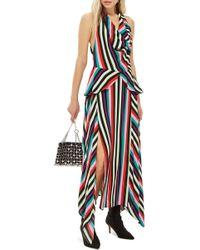 18243c3b591 TOPSHOP - Petite Stripe Halter Midi Dress - Lyst