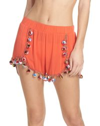 Surf Gypsy - Red Fruit Punch Pompom Cover-up Shorts - Lyst