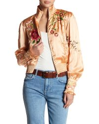 Free People | Just Peachy Embroidered Bomber Jacket | Lyst