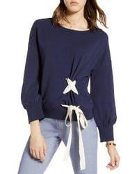 Halogen - Lace-up Sweatshirt (regular & Petite) - Lyst