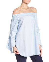 6f3a74edf862c Tibi - Off-the-shoulder Asymmetrical Bell Sleeve Blouse - Lyst