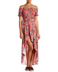 Lush - Off-the-shoulder Printed Maxi Dress - Lyst
