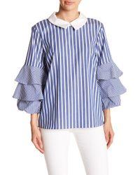 Cece by Cynthia Steffe - Ruffle Sleeve Stripe Top - Lyst
