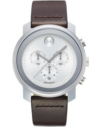 Movado - Bold Chronograph Leather Strap Watch - Lyst