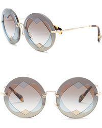 Miu Miu - 62mm Round Heart Lens Sunglasses - Lyst