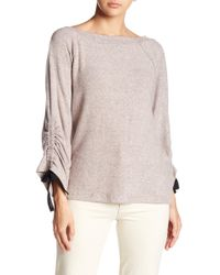 Bobeau - Tie Ruched Sleeve Sweater - Lyst