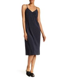 Vince - V-neck Print Silk Dress - Lyst