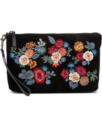 Lucky Brand - Super Bloom Floral Embroidered Suede Clutch - Lyst