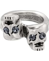 Uno De 50 - Are You Talking To Me? Swarovski Crystal Accented Skull Ring - Lyst
