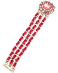 Betsey Johnson - Bright Pink Cameo Bracelet - Lyst