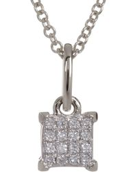 Bony Levy - 18k White Gold Pave Diamond Square Pendant Necklace - 0.04 Ctw - Lyst