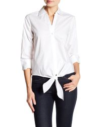 Foxcroft - Roma Tie Front Shirt - Lyst