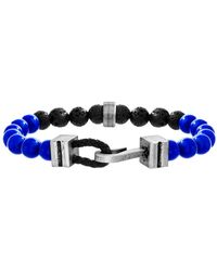 Steve Madden - Black Onyx & Lapis Beaded Hook Clasp Bracelet - Lyst