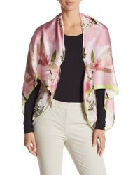 38cdf3d70753 Lyst - Ted Baker Palace Gardens Silk Cape Scarf in Pink