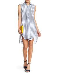 Sharagano - Striped Shirt Dress (petite) - Lyst