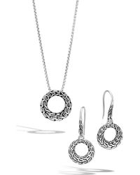 John Hardy - Classic Chain Sterling Silver Circle Earrings & Pendant Necklace Set - Lyst