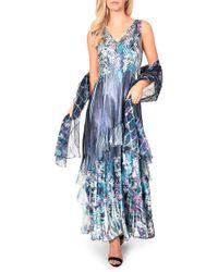 7f55c99f3b Lyst - Komarov V-neck Flutter Sleeve Midi Dress in Blue