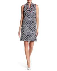 Eliza J | Geometric Patterned Mandarin Collared Dress | Lyst