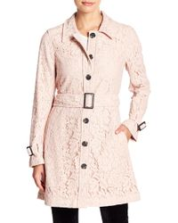 Cupcakes And Cashmere - Auretta Lace Belted Trench Coat - Lyst