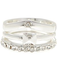 BCBGeneration - Crystal Detail Ring 3-piece Set - Lyst