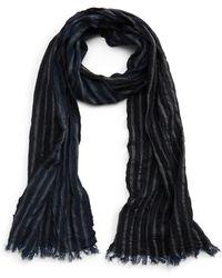 John Varvatos - Crinkle Stripe Wool Scarf - Lyst