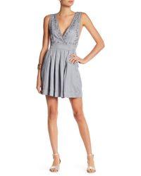 Blush Noir - Surplice V-neck Embroidered Sleeveless Dress - Lyst