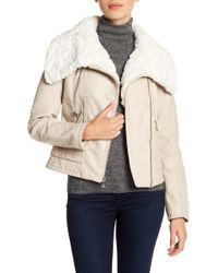 Guess - Faux Fur Collared Faux Leather Jacket - Lyst