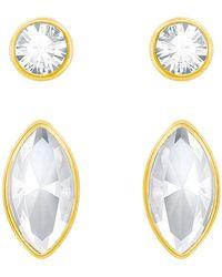 Swarovski - Harley Bezel Round & Marquise Cut Crystal Stud Earrings Set - Lyst
