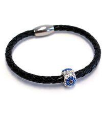 Liza Schwartz - Single Evil Eye Premium Black Leather Bracelet - Lyst