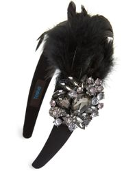 Tasha - Crystal Feather Headband - Lyst