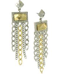 1928 - Stone Multi Chain Drop Earrings - Lyst