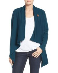 Bobeau - One-button Fleece Wrap Cardigan (regular & Petite) - Lyst