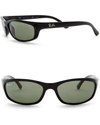 Ray-Ban - Polarized 57mm Wrap Acetate Sunglasses - Lyst