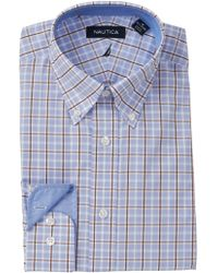 Nautica - Windowpane Plaid Stretch Classic Fit Dress Shirt - Lyst