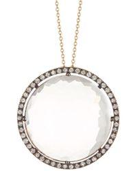 Suzanne Kalan - 14k Rose Gold Faceted White Quartz & Pave White Sapphire Pendant Necklace - Lyst