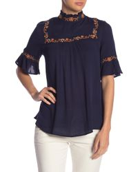 Blu Pepper - High Neck Embroidered Top - Lyst