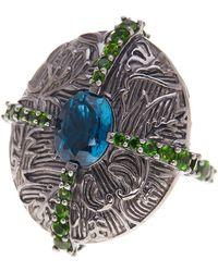 Stephen Dweck - London Blue Topaz & Chrome Diopside Stripe Ring - Size 7 - Lyst