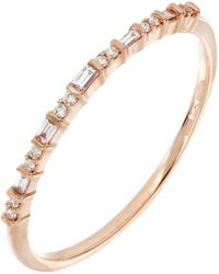Bony Levy - Gatsby 18k Rose Gold Prong Set Baguette & Round Cut Diamond Stackable Band Ring - 0.10 Ctw - Lyst