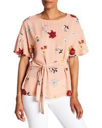 Pleione - Tie Waist Floral Blouse - Lyst