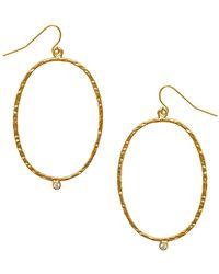 Karine Sultan - Milaine Crystal Oval Drop Earrings - Lyst