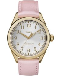 Timex - Women's Work-to-play Leather Strap Watch, 40mm - Lyst