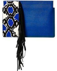 Thale Blanc - Saffiano Snakeskin Leather Tanya Clutch - Lyst