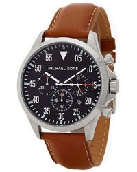 MICHAEL Michael Kors - Men's Gage Chronograph Leather Strap Watch - Lyst