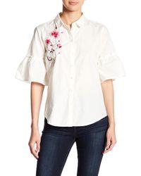 Vero Moda - Jina Embroidered Flutter Sleeve Button Down Shirt - Lyst